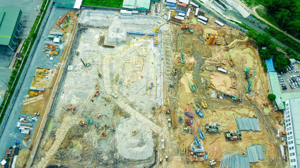 Công tác hoàn thiện 3 tầng hầm dự án đang được thực hiện.